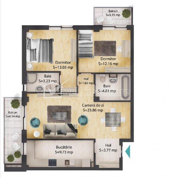 Apartament 3 camere, 72 mp, 2 bai, 2 balcoane, parcare subterana, Baciu