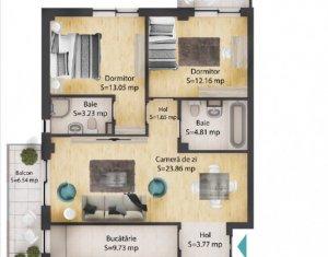 Apartament 3 camere, 72 mp, 2 bai, 2 balcoane, parcare subterana,Baciu
