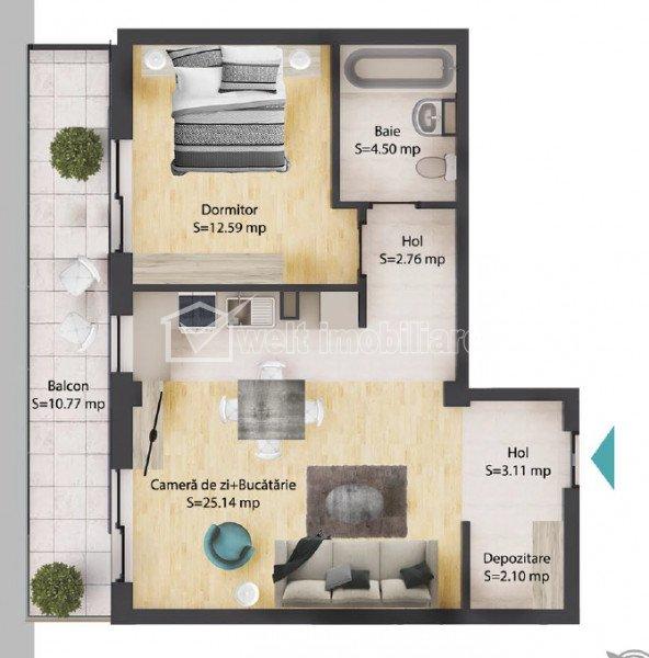Apartament 2 camere, 50 mp, baie, balcon 11 mp, parcare subterana, Baciu