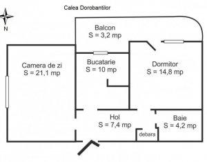Vanzare apartament 2 camere confort sporit, 61 mp zona ideala,  BRD