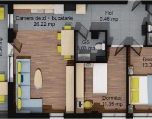 Apartament 3 camere, 68,32 mp, 2 bai, terasa 62 mp, parcare subterana, Baciu