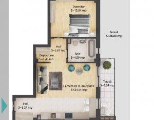 Apartament 2 camere,48,7 mp, terasa 93 mp, parcare subterana, Baciu