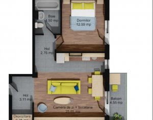 Apartment 2 rooms for sale in Baciu