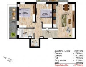 Apartament cu 3 camere, in Centru, bloc nou, zona Teatrului National