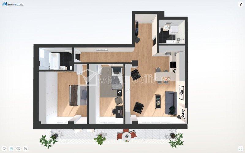 Apartament 3 camere, la 3 minute de Gheorgheni, zona Borhanci, terasa 23 mp