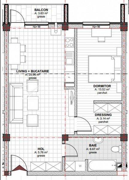 Vindem apartament cu 2 camere, 55 mp, la etaj inter. in Baciu si cu Prima Casa.