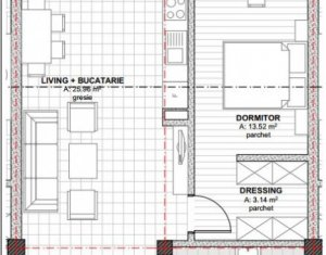 Apartament cu 2 camere, 55 mp utili, in Baciu cu CF-ul iesit